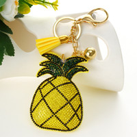 Wholesale Car Electronics For Lights - Fashion Hot selling Yellow pineapple pendant Key Chain Bag AccessoriesIce Leather Tassel Car Keychain for women Handbag Key Ring