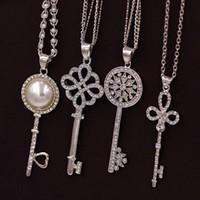 Wholesale Crystal Pendant Fake - Wholesale-Brand Imitation Gold Silver Plated Luxury Crystal Full Rhinestone Fake Pearl Key Pendant Long Chain Necklace Women Jewelry