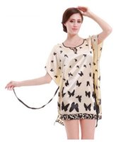 Wholesale Summer Women S Faux Silk - 2017 New Fashion Summer Home Suit Faux Silk Women Sleepwear Short Sleeve Butterfly Print Nightgown Ladies Homewear Dress Bath Robe With Sash