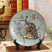 Wholesale Ceramic European Decorative Plates - European Decorative Plate  Painted Ceramic Plate  American Pastoral Hanging Plate Crafts