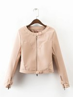 Wholesale Korean Leather Jacket Ladies - 2017 New Korean Lady Short Slim Waist O-neck Fashion Faux Leather Jacket Women Autumn Winter Leather Cute Pink Coat Outerwear
