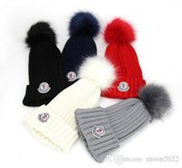 Wholesale Boy Brand Beanie - Free Shipping Brand fashion classc women knitted hat men beanies big fur pom-pom gorro boy casual ski girls skull caps free shipping
