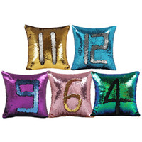 Wholesale Embroidered Pillow Cover Cushion - Sequin Pillow Case Number Pillow Cover Glitter Reversible Sofa Magic Double Reversible Swipe Cushion Cover 2018 New