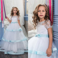Wholesale Cute Prom Dresses For Juniors - Cute Floor Length Tulle Gown Prom Dress Girls Tiered Lace Short Sleeves White and Blue Junior Bridesmaid Dresses For Pageant Weddings