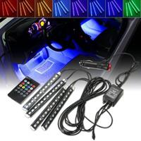 müzik aktif led araba ışıkları toptan satış-4x12LED 8 renkler RGB Renk Değiştirme Ses Müzik Aktif Glow LED Kablosuz Uzaktan Kumanda Araba Iç Zemin Footwell Dekor Atmosfer ışık