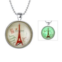 Wholesale Eiffel Silver Necklaces Charms - Noctilucous Seris Constellation Eiffel Tower 925 Silver Plated Pendant Charms Necklace Link Chains Unisex Fashion Jewelry Best Gift
