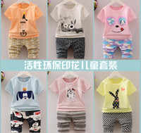 Wholesale Dog Baby Sets - 2017 Summer Kids 13 Pattens Children Clothing Set Short-sleeve T-shirt+Shorts Cartoon Car Dog Rabbit Bat Printed Baby Kids Clothes Q0923