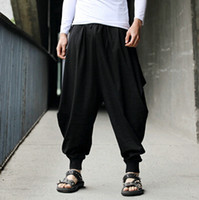 Wholesale Pleated Pants Cropped - Wholesale-Men trousers Japanese Samurai Style Boho Casual Low Drop Crotch Loose Fit Harem Baggy Hakama Capri Cropped Linen Pants Trousers