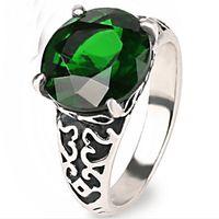 Wholesale Faceted Garnet - Vintage Resin Imitation rhombus Faceted green crystal Gem garnet ring jade Emerald malachite ring Zircon Olivine rings for Women 2017 j372