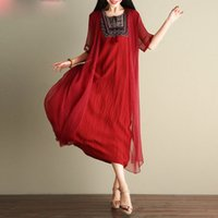d1cdfa558cf Women Dress Plus Size Vintage Summer Chinese style Embroidery Printing  Female Shawl Elegant Casual Two-Piece Suit Dress