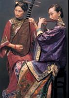 eski çince boyama toptan satış-Çince antik soylu kadın fan ile oturmuş, el- boyalı portre sanat yağlıboya yüksek kaliteli tuval, çok boyutta