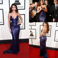 Wholesale Celebrity Dresses Selena - Selena Gomez Spaghetti Strap Sequins Celebrity Evening Dresses Cutaway Sides Mermaid Prom Gowns Sweep Train 58th Grammys Awards