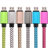 Wholesale Chinese S4 Android - Free 25cm 1m 2m 3m Aluminium Alloy Micro V8 5pin Fabric braided nylon usb data charger cable for samsung s4 s6 s7 Htc Lg Android phone