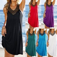 Wholesale Ice Silk Dresses Plus Size - V collar dress sexy fat swimwear for women drilling corrugated beach cover up dresses silk mercerized plus size bathing suits bikini coverup
