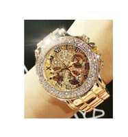 Wholesale Sparkle Battery - 2017 New High Quality Luxury Crystal Diamond Watches Women Gold Watch Steel Strip Rose Gold Sparkling Dress Wristwatch Drop Ship