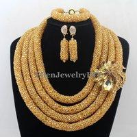 Wholesale Stylish Jewelry Sets - Stylish Nigerian Wedding African Beads Jewelry Set Handmade Indian Dubai Bridal Necklace Sets W12652