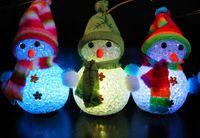 цветные украшения оптовых-Изменение цвета LED Снеговик Рождество украсить настроение лампа ночного света Xmas дерево вися орнамент