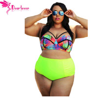 Wholesale Swimsuits For Big Girls - DearLover Large Big 5XL Curvy Girl Tropical Style High Waist Bathing Suit Plus Size Two Pieces Bikini Swimsuit for Women LC41712