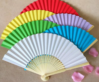 200 PCS / LOT Fan de papier de mariage, Fan de main de mariée avec des côtes de bambou, Craft Fan wedding nupcial shower favor party gift 15 color