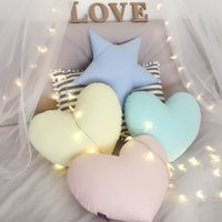 Wholesale Soft Toys Heart - 2017 Hot Decorative Pillows for Kids Room Star Pillow Baby Soft Cotton Plush Stuffed Heart Toy Children Gift Bed Back Cushions Home Decor