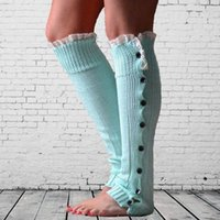 Wholesale Womens Cotton Knee Socks - 2016 christmas leg warmer womens boot socks thigh stocking foot socks lace button Leggings foot cover knee high socks B937