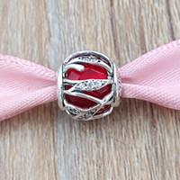 collar de la naturaleza rojo al por mayor-Auténticos granos de plata esterlina 925 Royal Red Nature's Radiance Charms se adapta a estilo de Pandora europeo joyas collar pulseras 791969