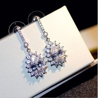 Wholesale Luxury Mother Pearl Fashion - High Quality !Fashion Jewelry Luxury Water Droplets Zircon 925 Silver Needle Earrings For Bride Women Valentine's day Gift Party G00242
