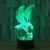 A Fierce Eagle 7 Color Lamp 3d Visual Led Night Lights para crianças Touch Usb Table Lampara Lampe Baby Sleeping Nightlight Led 3d