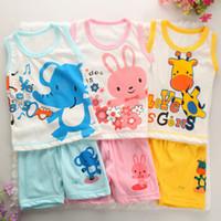 Wholesale Undershirt Child Boy - Wholesale- Toddler girl clothing baby boy clothing set Shirt+Pants Undershirt Baby Children Clothing Kids Pajama Set roupas infantis menino