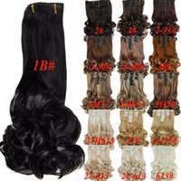 Wholesale Heat Resistant Synthetic Hair Extension - Free Shipping 8pcs set 20inch 16Colors Clip in Hair Extensions Long Hairpiece Curly Wavy Heat Resistant Synthetic Natural Hair Extension