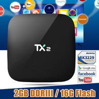 Wholesale Cheapest Quad Core Tv Box - 2017 Cheapest 2GB RAM TX2 R2 16GB android-tv-box Android 6.0 RK3229 WiFi Bluetooth Media Player Support HDMI LAN USB cheaper X92 X96