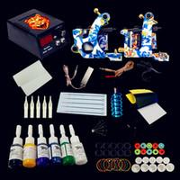 Wholesale Permanent Ink Set - Tattoo Kit 2 Coils Guns Machine Set 6 Colors Tattoo Ink Supplies Power Supply Tattoo Kits Permanent Makeup