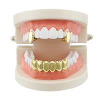 4 cores Men Women Vampire Fangs Dentes Hip Hop Grillz Top Bottom Dental Grills Set Cobre Body Jewelry Presentes de festa Rapper Hiphopman Favorito