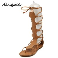 Wholesale American Gladiator - Wholesale-European and American new women casual sandals fashion rome gladiator flip flop flat shoes lace-up hollow Knee-high sandals