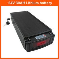 Wholesale 24v battery scooter - 24V Scooter battery 24V 700W Rear rack Battery 24V 30AH lithium battery For electric bike with Tail light 30A BMS 29.4V 3A charger