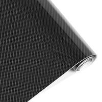 Wholesale Carbon Fiber Gloss Sheet - stickers coin Styling 152cm*30cm High Gloss 5D Black Carbon Fiber Vinyl Film Carbon Fibre Car Wrap Sheet Roll Film tools Car
