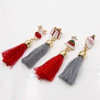 Wholesale Resin Figure Female - Fashion Simple Cute Christmas Brooches Pin Gift Santa Claus Reindeer Tassel Christmas Tree Female Clothing Accessories Party Ornaments