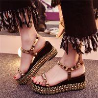 Wholesale Spike Platform Wedges - Hot 2017 Summer Ladies Plus Size 33-43 Spiked Platform Sandals Wedges Shoes for Women Rivets Studded Wedge Sandals Casual Gold Silver Black