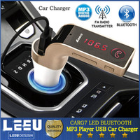NOVO CARG7 Multifunções LED Handsfree Bluetooth carro carregador A2DP Car Kit Fm Transmissor MP3 Player SD card Carregador de isqueiro para iphone Samsung