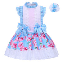 Wholesale Lace Girls Boutique Dress - Pettigirl Girls Summer Printed Flower Boutique Dress Children Blue Bow Lace Neck and Sleeves With Headband Kids Clothing G-DMGD001-1310