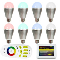 Wholesale Mi Light G WIFI Smart LED Bulb W W W W RGBW RGBWW Global Bubble Dimmable GU10 E27 E14