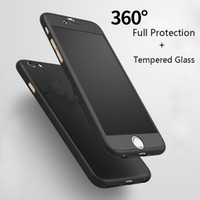 Wholesale Red Transparent Film - 360 Degree Full Body Cover Protection Slim Hybrid Phone Case + Tempered Screen Protector Glass Film for iPhone 7