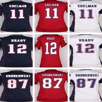 Wholesale Cheap Women S White Shirts - Wholesale Women Stitched #12 Tom Brady 87 Rob Gronkowski 11 Julian Edelman White BLue Red Jerseys cheap rugby t-shirts Size S-2XL