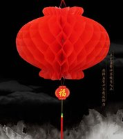 Wholesale Traditional Chinese Lanterns Wholesale - 26 cm Dia Chinese Traditional Festive Red Paper Lanterns For Birthday Party Wedding Decoration Hanging Supplies
