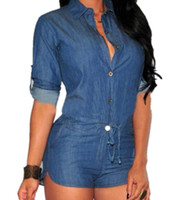 Wholesale denim rompers - Lady Women Girl Casual Fashion Mid-sleeve Denim Long Sleeve Sexy Blue Denim Jumpsuit Rompers Shorts Clothes 2574