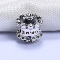 Wholesale Real Happy - Wholesale Real 925 Sterling Silver Not Plated Happy Birthday Cake European Charms Beads Fit Pandora Snake Chain Bracelet DIY Jewelry