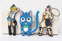 figuras de anime natsu al por mayor-¡Caliente! 20pcs / lot Anime Fairy Tail Lucy Natsu Happy PVC Figuras Juguetes con Llavero