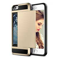 Wholesale Dual Slide Phone - Dual Layer Armor Phone Case with Slide Card fundas Case Credit Card Pocket Walle case for Iphone 5s 6 6s plus 7 7plus Samsung S6 S7 S8