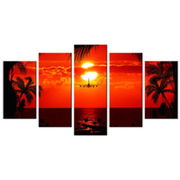 Wholesale paintings tropical seascapes resale online - Tropical Scenery Giclee Painting Charming Rising Sun Canvas Prints Canvas Painting for Interior Decoration Panels