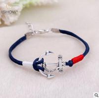 Wholesale Infinity Rudder Anchor Charm Bracelets - Anchor Bracelet for Men and Women Braided Rope Woven Bracelets Unisex Infinity Love Bracelet Navy Bracelet Rudder Bracelets